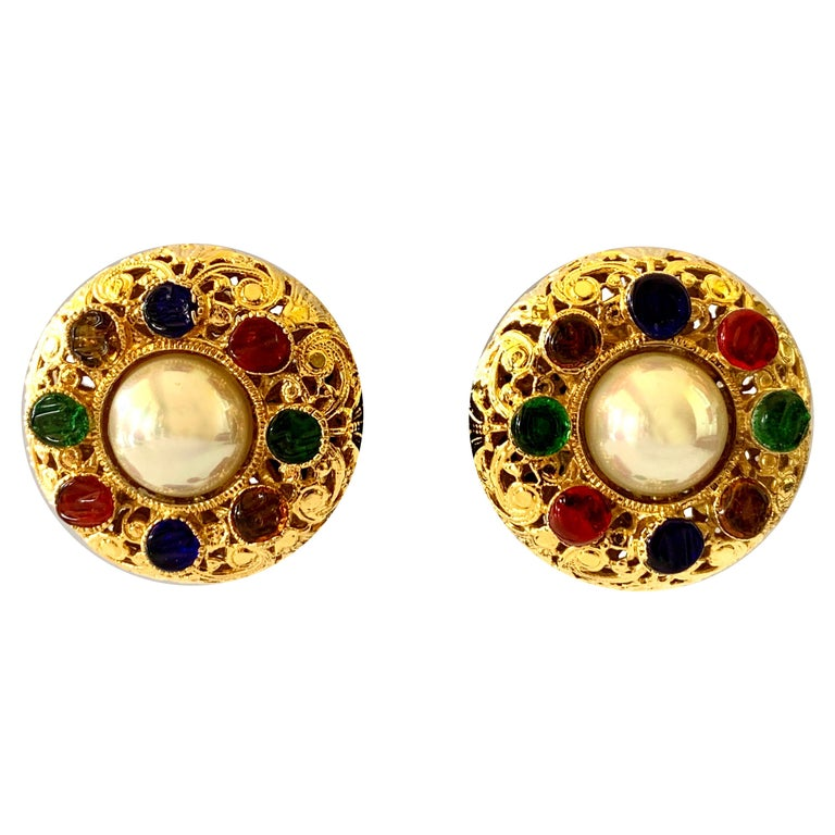 Vintage Chanel Byzantine Gilt Pearl Pate de Verre Round Statement Earrings  For Sale