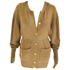 Vintage Chanel Camel Tan & Gold 100% Cashmere Sweater Cardigan FR 38/ US 4 6