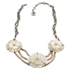 Vintage CHANEL Camellia Mother of Pearl Flower Multi Strand Necklace