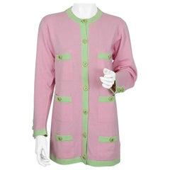 Vintage CHANEL Cashmere Knit Pink Melon Green Trim CC Logo Button Cardigan