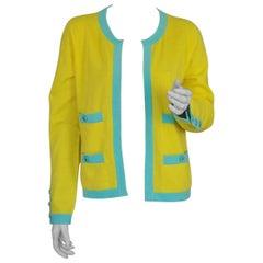 Vintage CHANEL Cashmere Knit Yellow Turquoise Trim CC Logo Button Cardigan