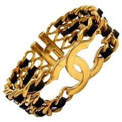 Vintage Chanel CC Gold Chain and Black Leather Bracelet