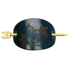 Vintage Chanel Cc Logo And Camellia Hair Pin Accessory