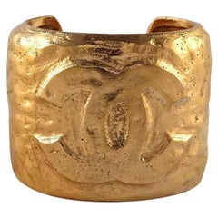 Vintage CHANEL CC Logo Hammered Cuff Bracelet