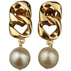 Vintage CHANEL Chain Pearl Dangling Earrings