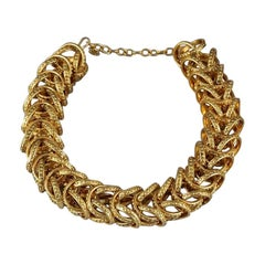 Vintage CHANEL Chunky Ring Link Chain Choker Necklace