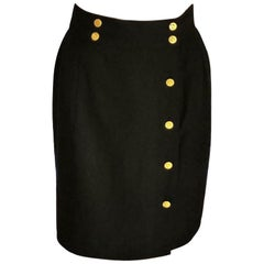 Vintage Chanel Classic 1980's Black (8) 18K Gold Plate Buttons Skirt FR 38/ US 6