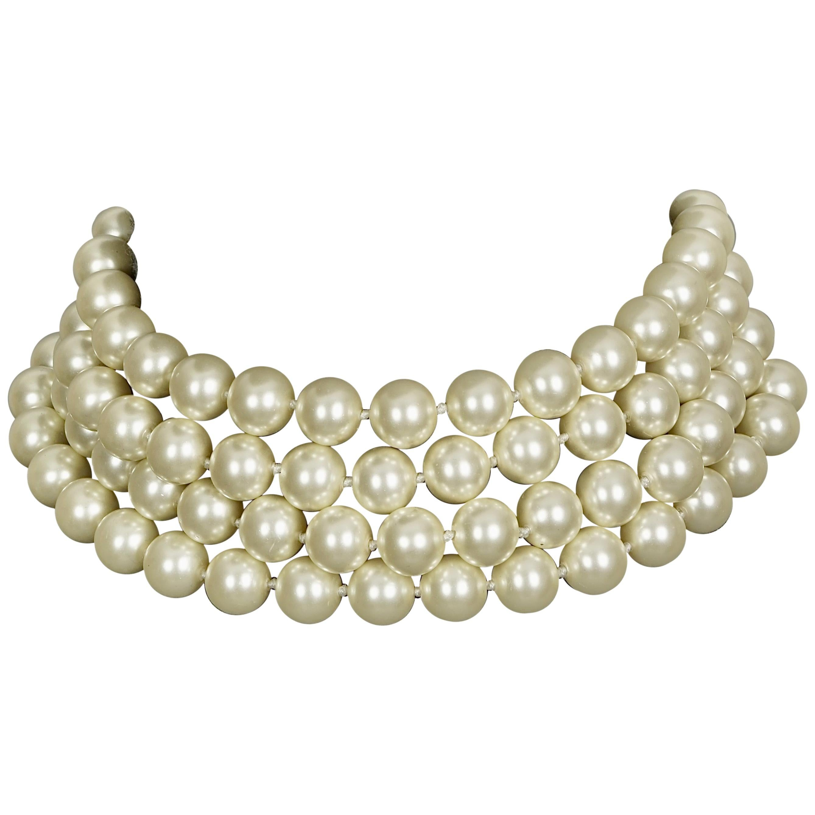 Large Pearl Necklace Dainty Pearl Choker Necklace Multi Layered pearl choker Pearl Strand Necklace Vintage Style Baroque Pearl Necklace