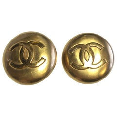 Vintage Chanel Clip On Earrings Gold Tone CC