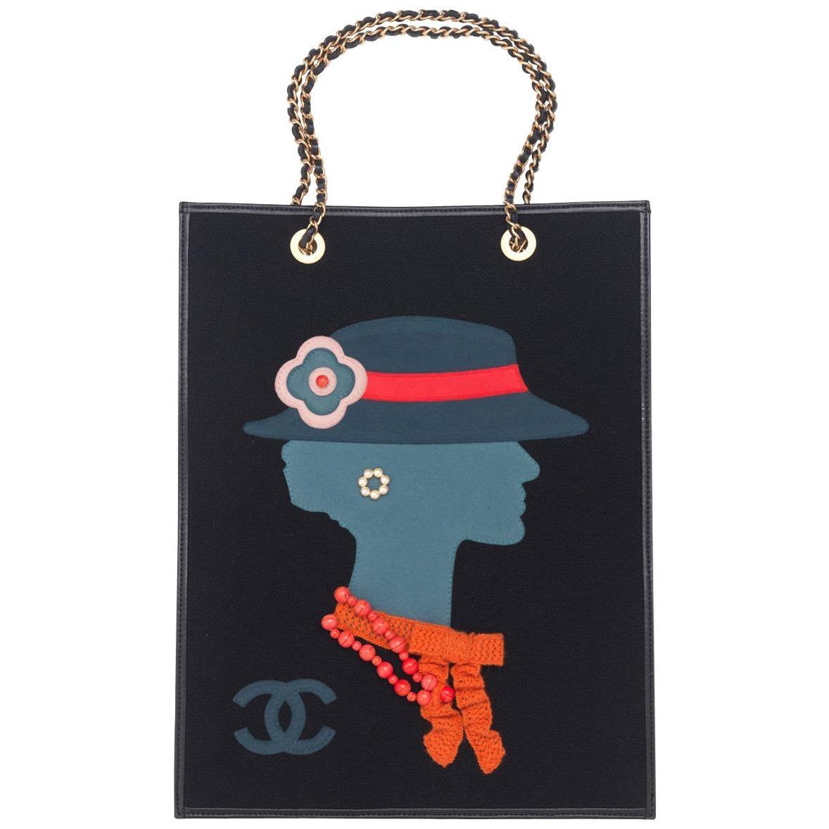 """Vintage Chanel """"Coco"""" Lady Shopper Tote Handbag"""