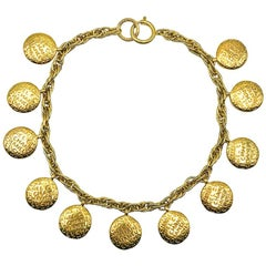 Vintage Chanel Coco & Monogram Reversible Charm Droplet Collar Necklace 1980s