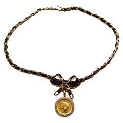 Vintage Chanel Coco Rhinestone Bow Choker Necklace