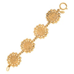 Vintage Chanel Coin Bracelet 1980s Medallion Yellow Gold Tone 31 Rue Cambon