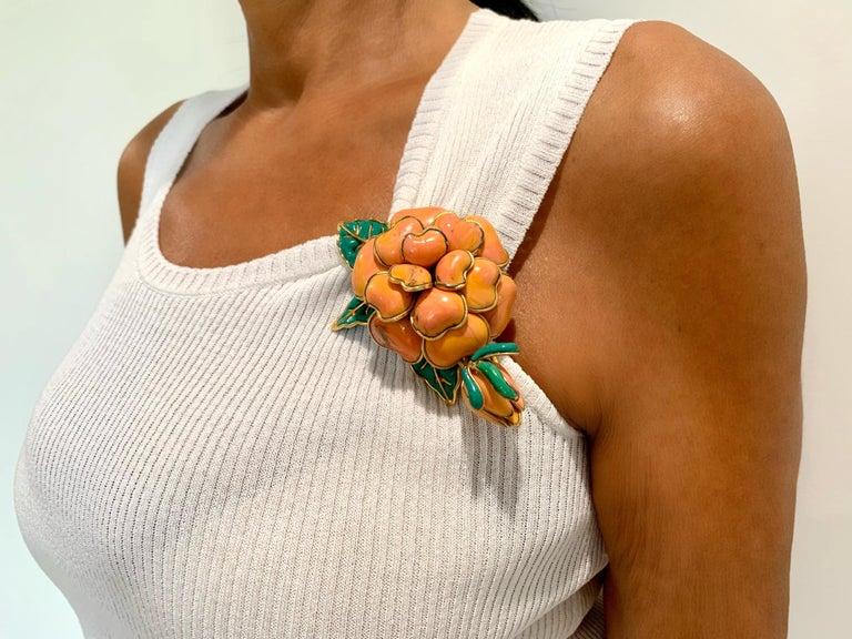 Artisan Vintage Chanel Coral Camellia Brooch  For Sale