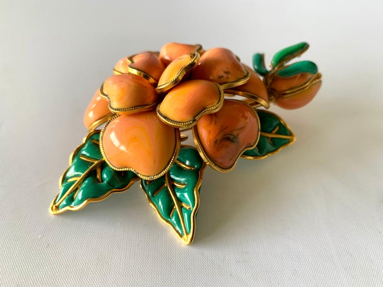 Women's Vintage Chanel Coral Camellia Brooch  For Sale