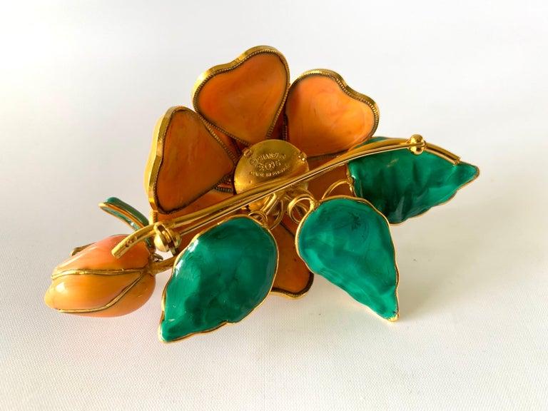Vintage Chanel Coral Camellia Brooch  For Sale 2