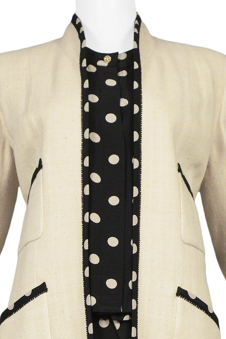 Beige Vintage Chanel Cream Linen Polka Dot Skirt Suit For Sale