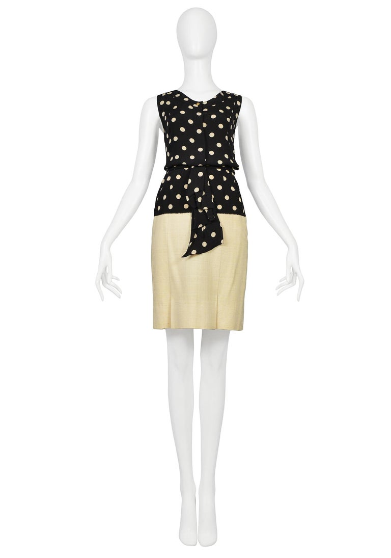 Women's Vintage Chanel Cream Linen Polka Dot Skirt Suit For Sale