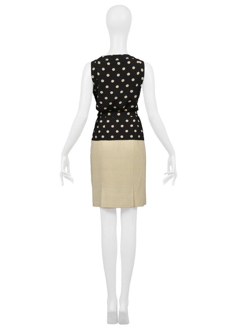 Vintage Chanel Cream Linen Polka Dot Skirt Suit For Sale 1