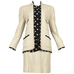 Vintage Chanel Cream Linen Polka Dot Skirt Suit