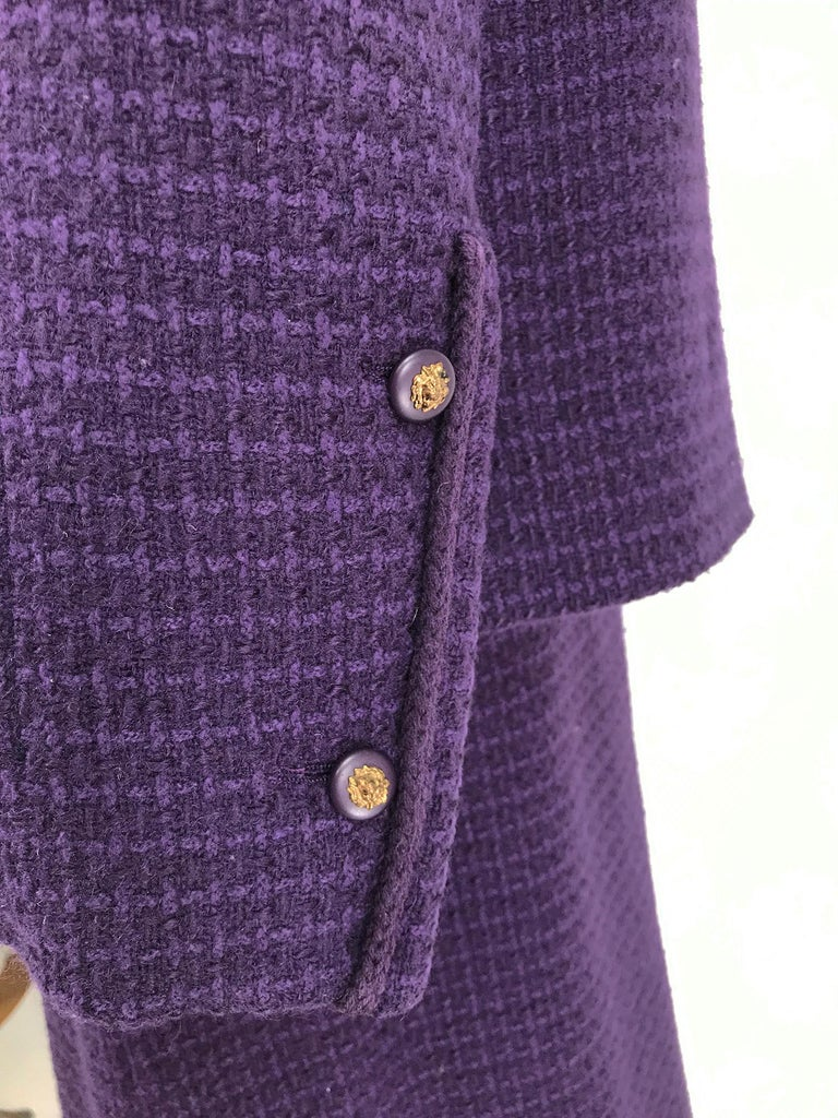 Vintage Chanel Creations Textured Purple Wool Skirt Suit 1970s For Sale 6