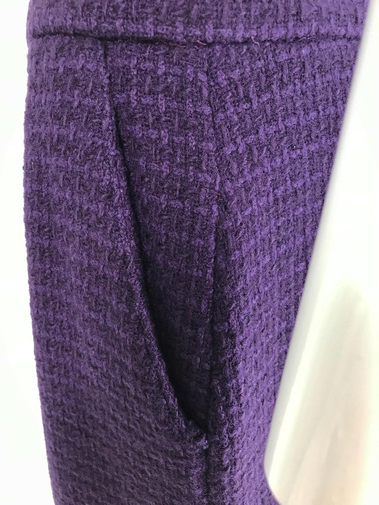 Vintage Chanel Creations Textured Purple Wool Skirt Suit 1970s For Sale 7