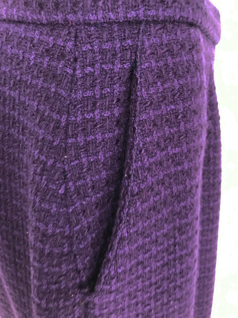 Vintage Chanel Creations Textured Purple Wool Skirt Suit 1970s For Sale 8