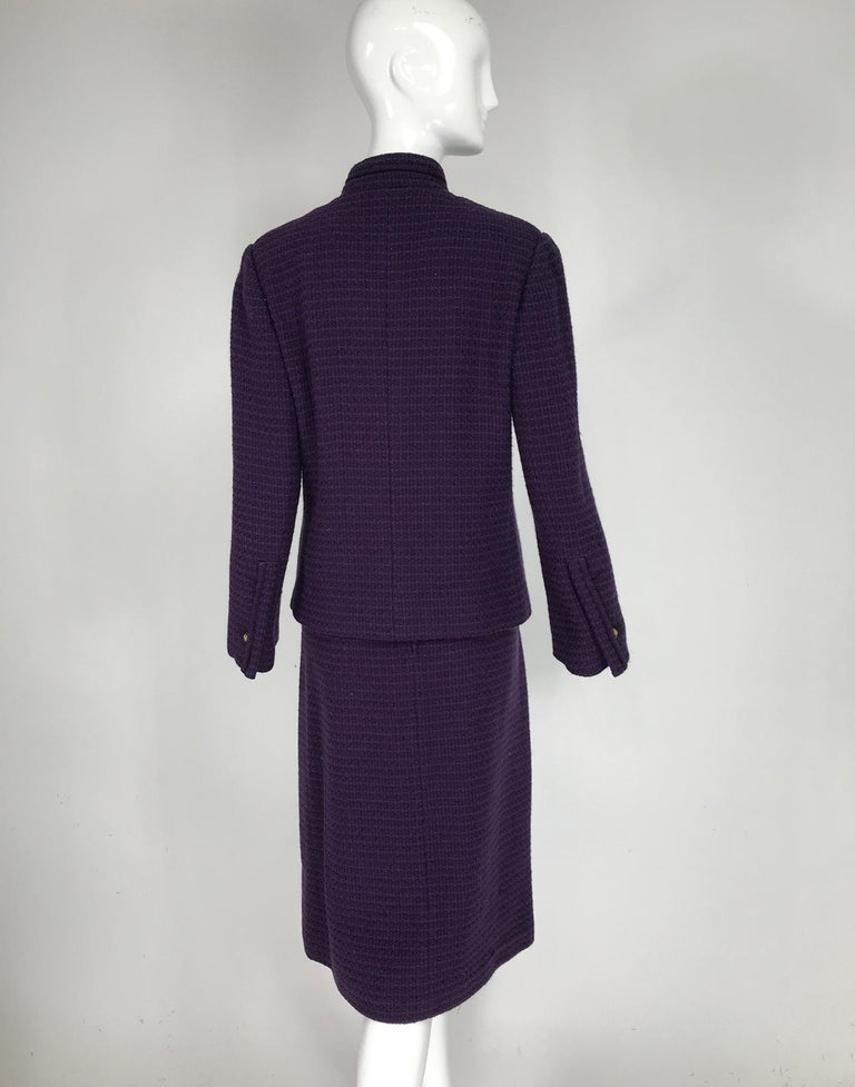 Vintage Chanel Creations Textured Purple Wool Skirt Suit 1970s For Sale 1