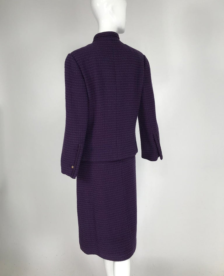 Vintage Chanel Creations Textured Purple Wool Skirt Suit 1970s For Sale 2