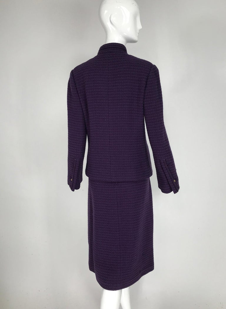 Vintage Chanel Creations Textured Purple Wool Skirt Suit 1970s For Sale 3
