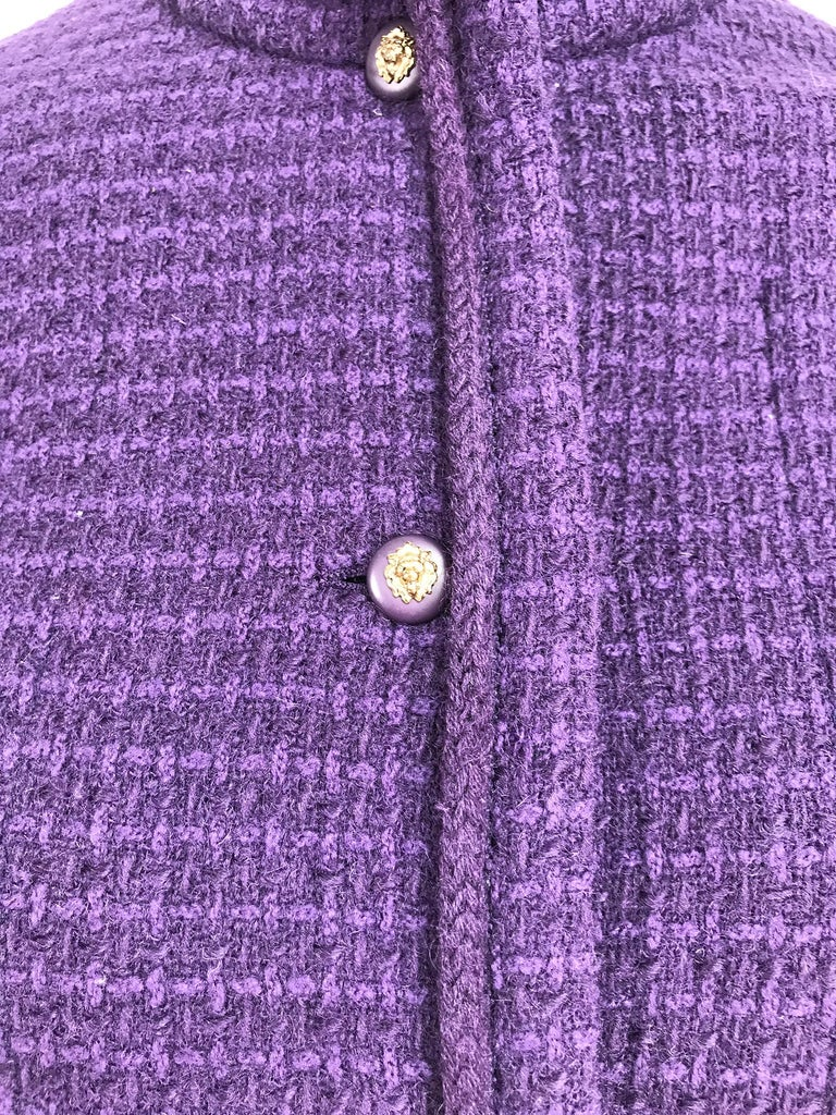 Vintage Chanel Creations Textured Purple Wool Skirt Suit 1970s For Sale 4