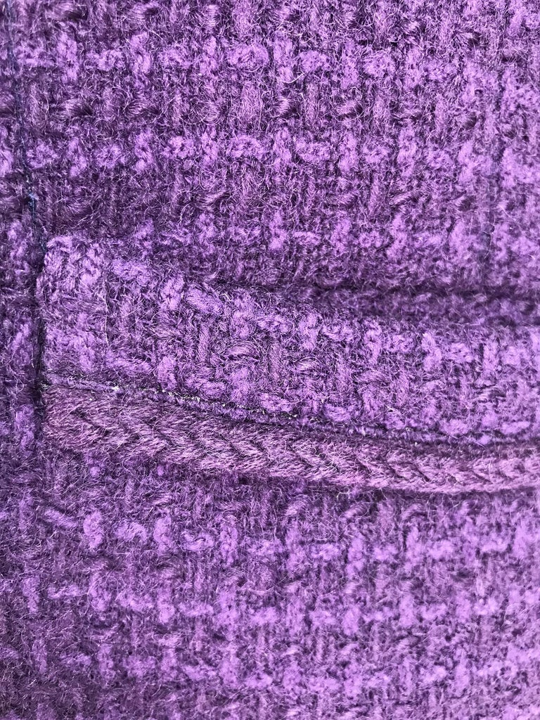 Vintage Chanel Creations Textured Purple Wool Skirt Suit 1970s For Sale 5