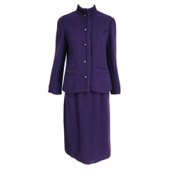 Vintage Chanel Creations Textured Purple Wool Skirt Suit 1970s