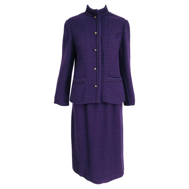 Vintage Chanel Creations Textured Purple Wool Skirt Suit 1970s For Sale