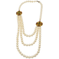 Vintage Chanel Crystal FO Pearls Necklace