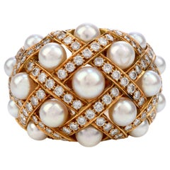 Vintage Chanel Diamond Pearl 18k Gold Perles Matelassé Cluster Cocktail Ring