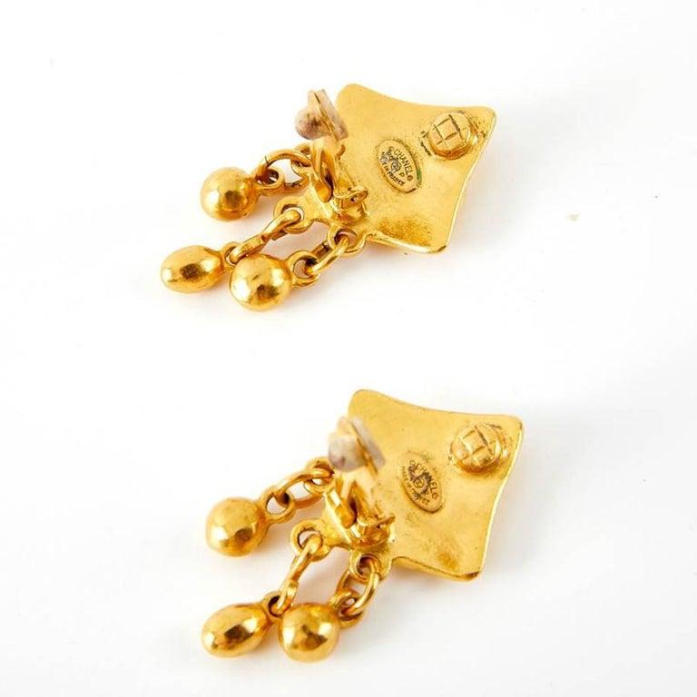 Women's Vintage Chanel Double C Gold Tone Earrings For Sale