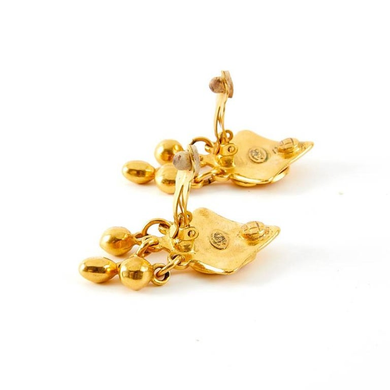 Vintage Chanel Double C Gold Tone Earrings For Sale 1