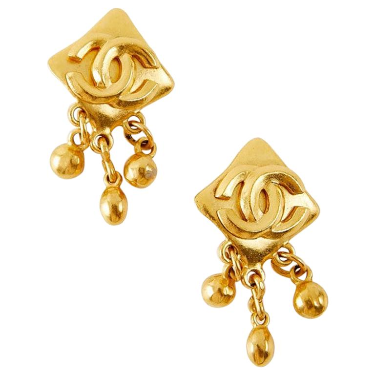 Vintage Chanel Double C Gold Tone Earrings For Sale