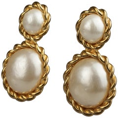 Vintage CHANEL Double Pearl Torsade Earrings