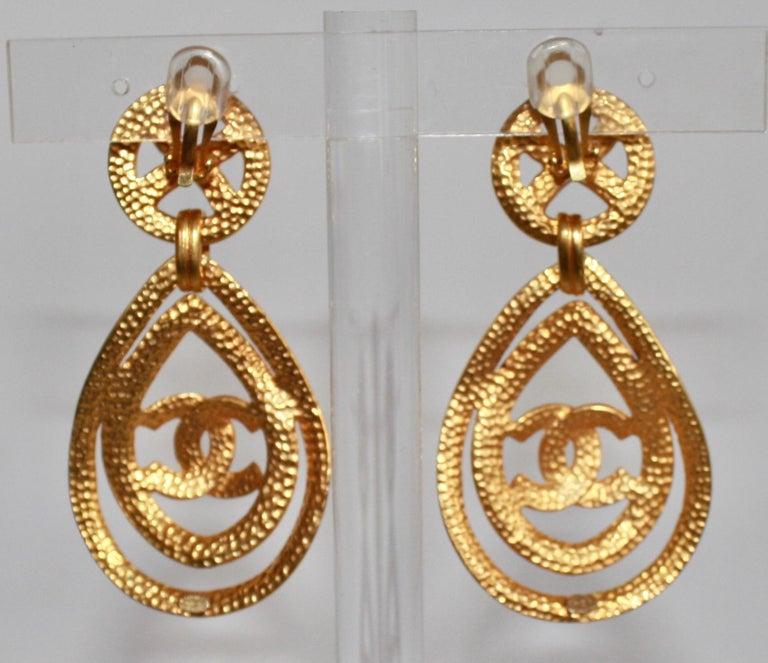 Modern Vintage Chanel Drop Clip Earrings. For Sale