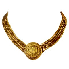 Vintage CHANEL Eagle Medallion Double Chain Necklace