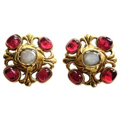 Vintage Chanel ear clip Gripoix gold plated 1985