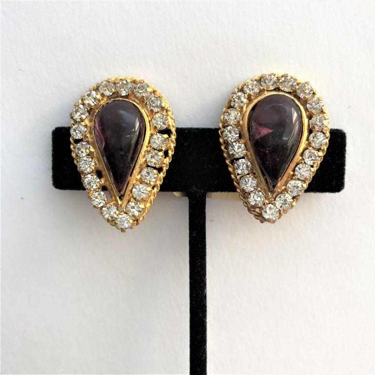 Vintage Chanel ear clip Maison Gripoix 1970/80 gold plated In Excellent Condition For Sale In Stuttgart, DE
