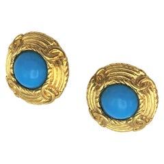 Vintage Chanel ear clips Paris  70/80s Jahre gold plate turquose