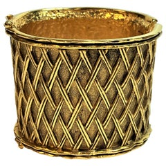 Vintage Chanel  Early 1980s  2 1/4 Inch Gold Tone Lattice Pattern, Hinged Cuff
