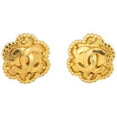 Vintage Chanel Earrings  Circa 1996 CC Logo Flower Clip On Yellow Gold Tone
