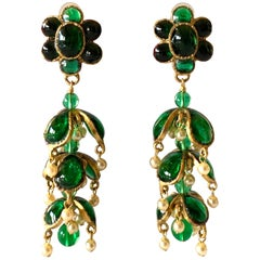 Vintage Chanel Emerald and Pearl Mughal Statement Earrings