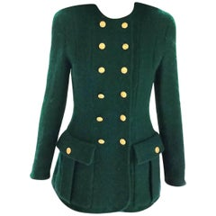 Vintage Chanel Emerald Green (24) 18K Gold CC Buttons Tweed Jacket FR 36/ US 2 4