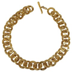 Vintage CHANEL Engraved Logo Ring Link Choker Necklace